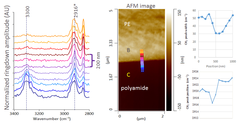 AFM-IR spectra (left) and AFM image (center) of the interface between polyethylene and polyamide. At the interface there is a shift in the CH stretch peak position and width indicating a difference in the molecular orientation.