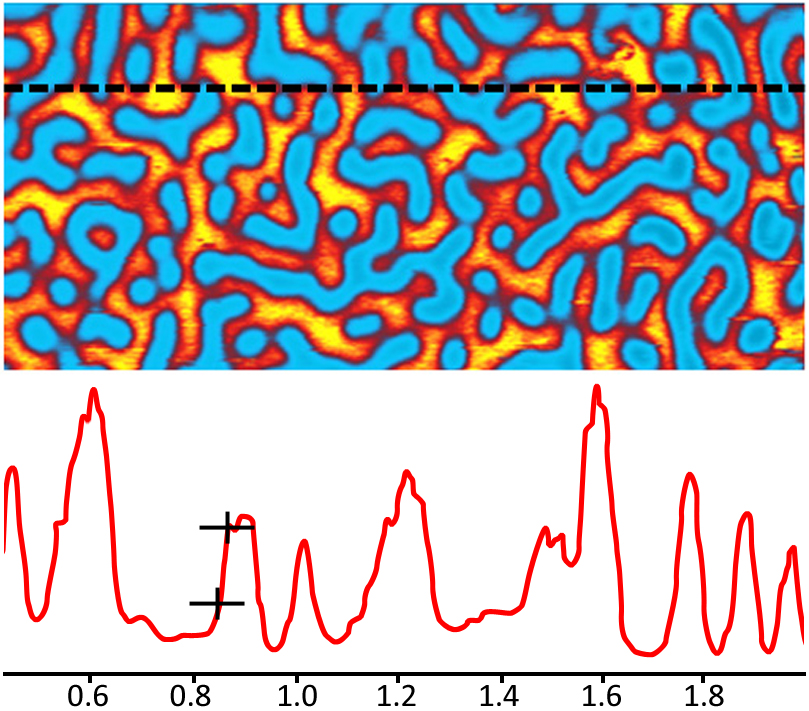 Tapping AFM-IR demonstrates sub 20nm imaging resolution on block co-polymer substrate of PS/ PMMA, as shown in cross-section.