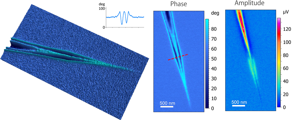 s-SNOM phase and amplitude images of surface plasmon polariton (SPP) on a graphene wedge. (left) s-SNOM phase with a line cross-section of the SPP standing wave; (right) s-SNOM amplitude. Top image is a 3D view of Phase image (left).